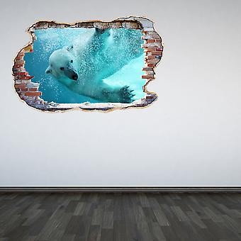 Full Colour Polar Bear Smashed Wall 3D Effect Wall Sticker