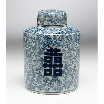 AA Importing 59720 Antiqued Pale Green And Blue Round Jar With Lid
