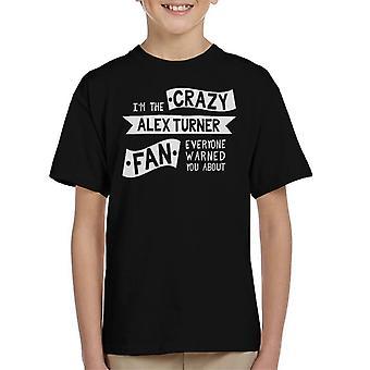 Il ventilatore di pazzo Alex Turner tutti avvertiti t shirt bambino