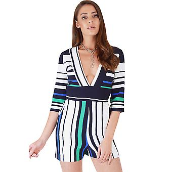 Lavish Alice White Playsuit With Blue And Green Stripes