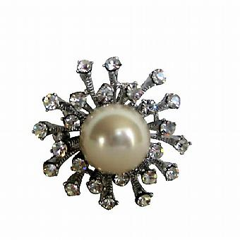 Simulated Diamond Embedded Sun Rays White Pearl Stud Dress Brooch Pin