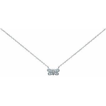 Bella Cubic Zirconia Butterfly Necklace - Silver
