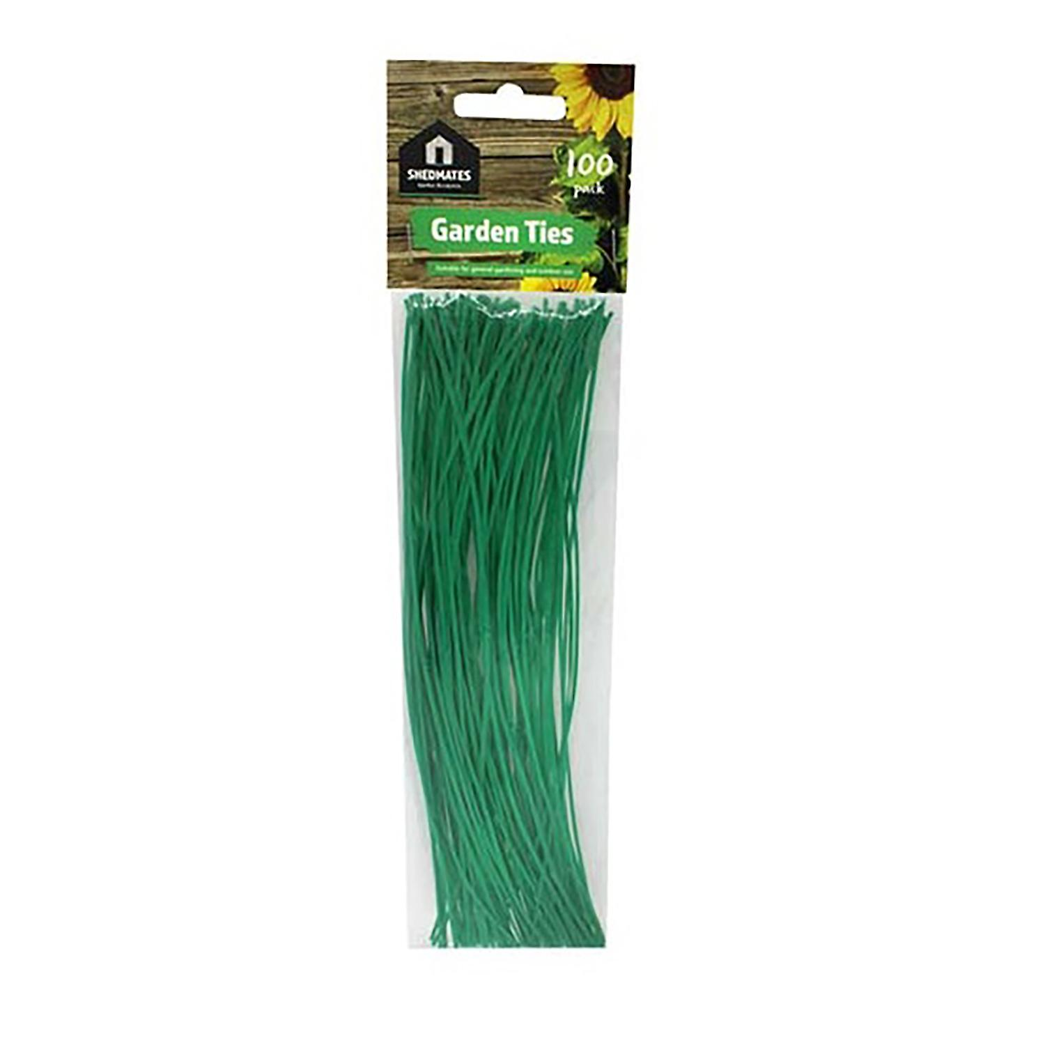 Pack of 100 Shedmates GS100TT Green Plastic Coated Wire General Purpose Garden Plant Tree Ties 25cm (10