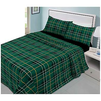 Tartan Flannelette Brushed Cotton Sheet Set Include Fitted Flat Sheet Pillowcase