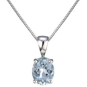 Mark Milton Oval Aquamarine Pendant - Silver/Blue