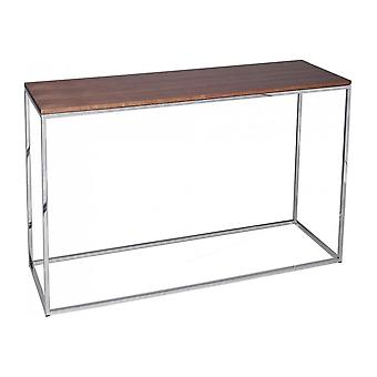Gillmore Walnut And Silver Metal Contemporary Console Table