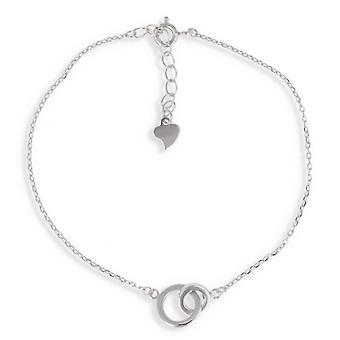 Silver Rhodié Double Circle bracelet 17cm - 3cm