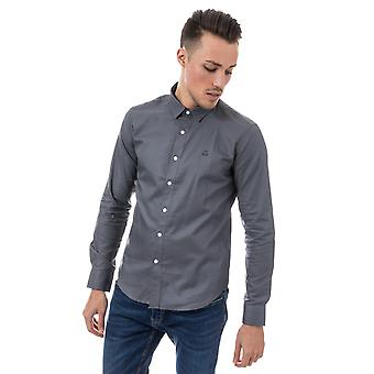 Mens Duck And Cover Birch Cotton Shirt In Grey- Long Sleeve- Button Down Collar-