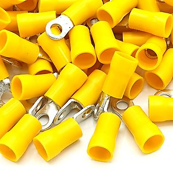 100pcs Yellow Insulated Crimp Ring Terminals Connectors Various Stud Size