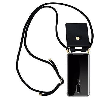 Cadorabo telefon kæde dække til OnePlus 6T sag dækning - silikone halskæde kappe dækning med guld ringe - ledningsbånd ledning og aftageligt etui beskyttende dækning