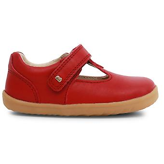 Bobux Step Up Girls Louise T-bar Shoes Rio Red