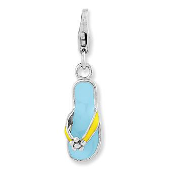 925 Sterling Silver Fancy Lobster Closure Enameled 3 d Flower Flip Flop With Lobster Clasp Charm Pendant Necklace Jewelr