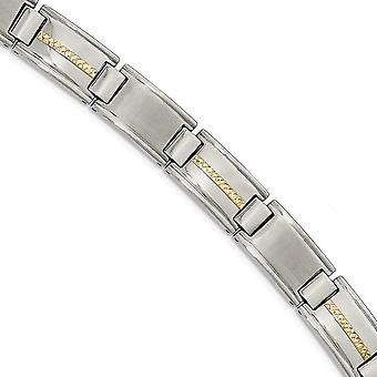 Stainless Steel Polished and Brushed With 14k Gold Link Bracelet 8.75 Inch Jewelry Gifts for Women