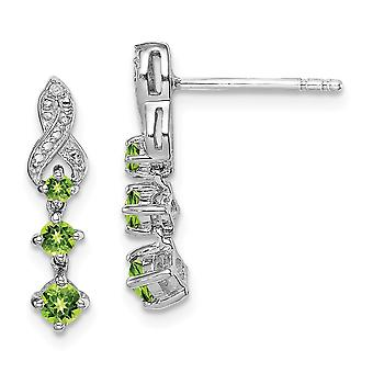 925 Sterling Silber baumeln poliert Post Ohrringe Rhodium-beschichtet Peridot Diamant Ohrringe