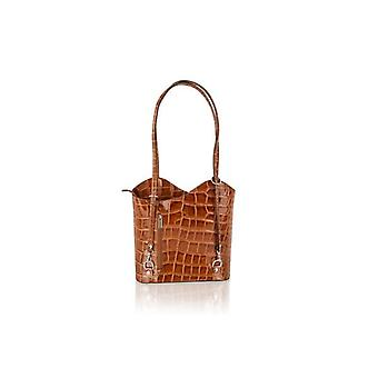 Shopping Bag Croc Style Leather 12.0""
