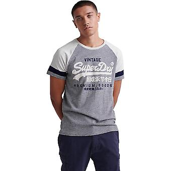 Superdry Vintage Logo Tri-Colour Raglan T-Shirt Blue 07