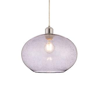 Endon Dimitri 1 Light Pendant Grey Glass With Bubbles 73976