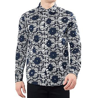 Brave Soul Mens Splat Long Sleeve Button Down Collared Shirt Top - Navy/White