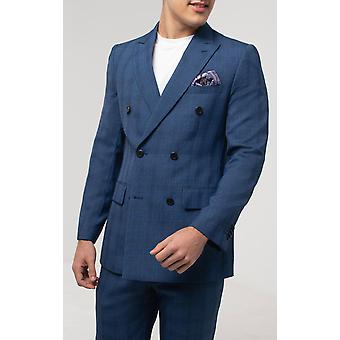 Dobell Hombres Azul Check Chaqueta Ajuste Regular Doble Breasted Pico Lapel