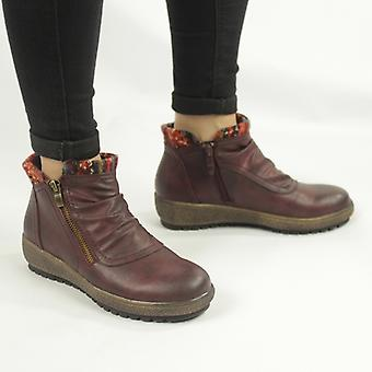 Cipriata Gina Ladies Knitted Collar Zip Up Ankle Boots Burgundy