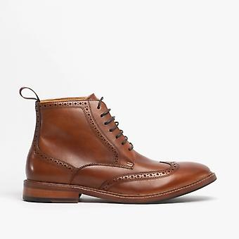 Steptronic Bicester Mens Leather Brogue Boots Cognac