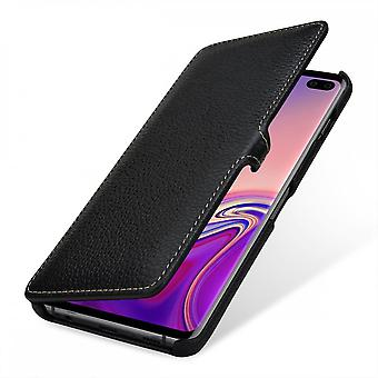 Case For Samsung Galaxy S10 Plus Book Type Grained Black In True Leather