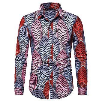 Alle Themen Men's Lapel Strip Print Langarm Shirt