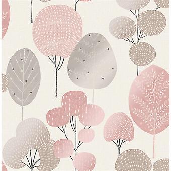 Scandi floresta árvore metálica papel de parede floresta folha rosa prata shimmer coroa