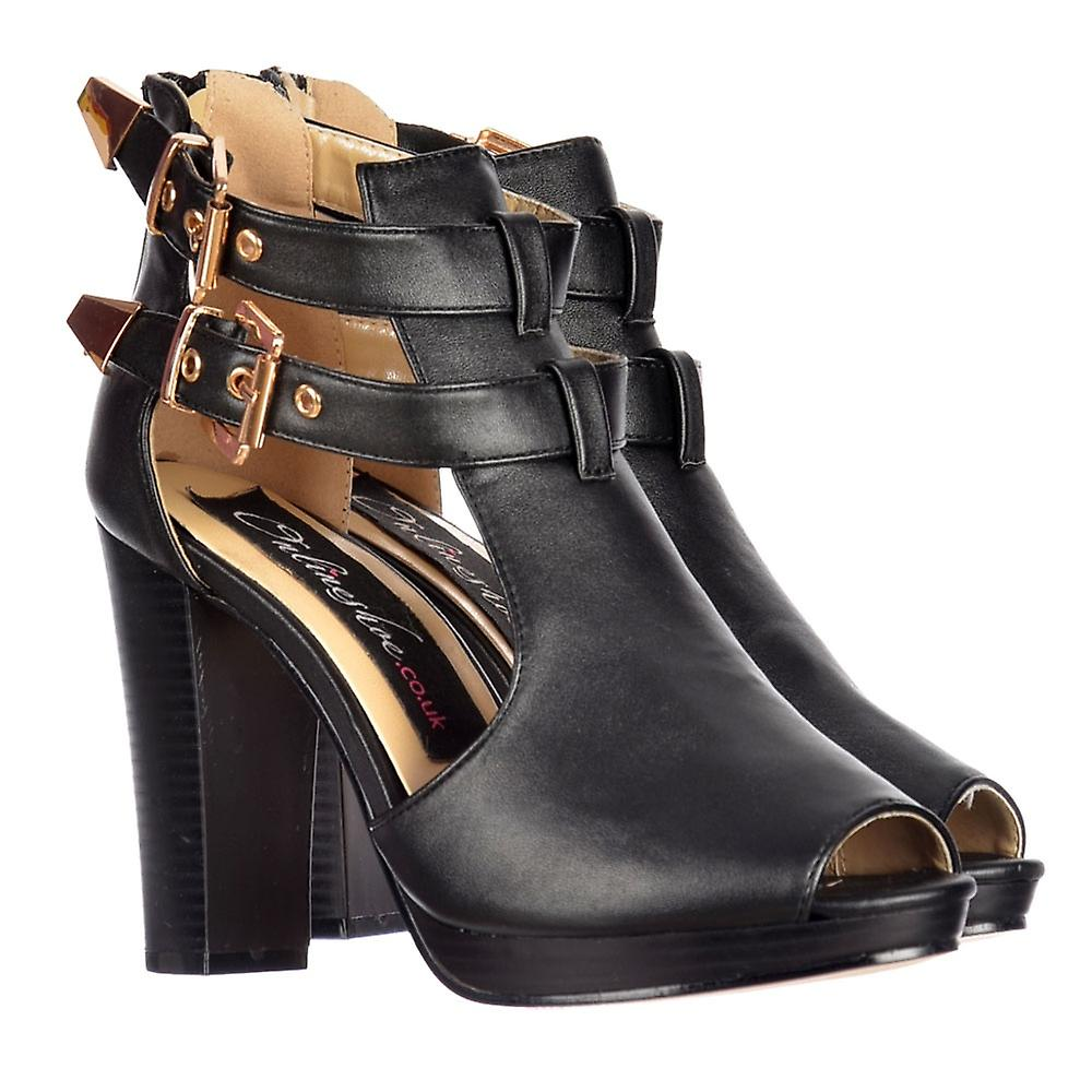 Onlineshoe Cut Out Peep Toe Heeled Ankle Boot -  Cut Out Buckles Studs