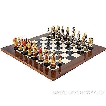 Schlacht von Waterloo Hand lackiert Palisander Schachspiel