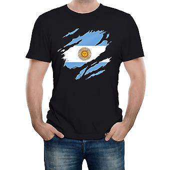 Reality glitch torn argentina flag mens t-shirt