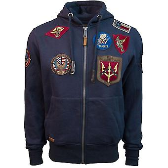 Top Gun Mens Zip Up Hoodie With Patches Navy Blue