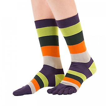 TOETOE Essential Fashion Men Mid-Calf Stripy Cotton Toe Socks