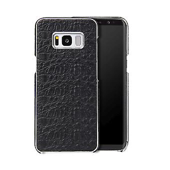 Pour Samsung Galaxy S8 Case,Fierre Shann Crocodile Genuine Leather Cover,Black