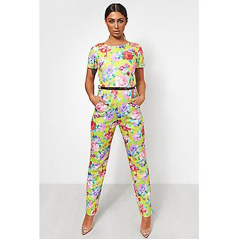 Neon Floral Gold Belted Jumpsuit
