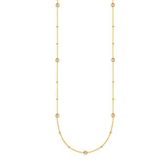 14k Yellow Gold 0.25 Dwt Diamond Bezel Station Adjustable Necklace 20 Inch Jewelry Gifts for Women