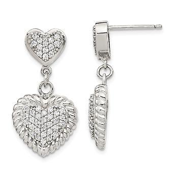 925 Sterling Silver Cubic Zirconia Heart Dangle Earrings Jewelry Gifts for Women