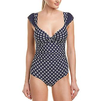 Anne Cole Women's Flutter Sleeve Twisted One Piece Swimsuit,, Blue, Size 8.0