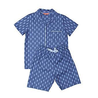 Minijammies 6479 Boy's Billy Blue Paisley Print Cotton Pyjama Short Set