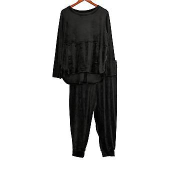 Carole Hochman Petite Set Silky Velour Jogger Set Black A368282
