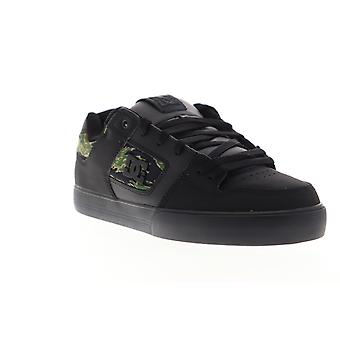 DC Pure SE  Mens Black Leather Lace Up Athletic Skate Shoes