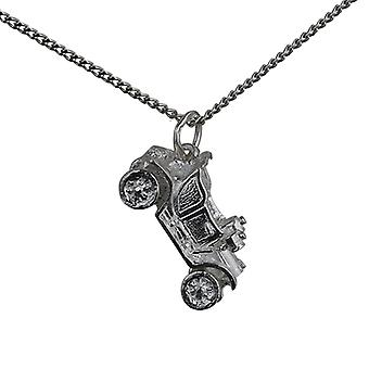 Silver 10x20mm Vintage Car Pendant with a curb Chain 24 inches