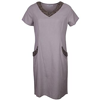 Alice Collins Grey Charlotte Style Short Sleeve Linen Dress With Beaded V Neck