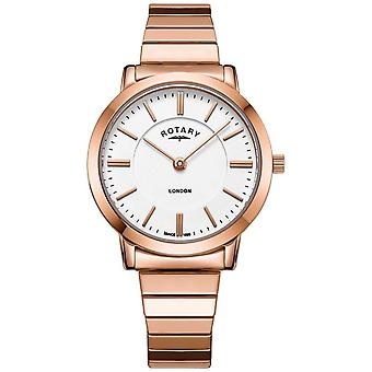 Rotary Womens London Rose Gold Steel Expanding Bracelet LB00767/02 Watch