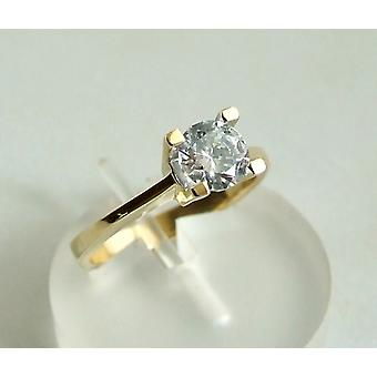 Gold ring with central zirconia stone