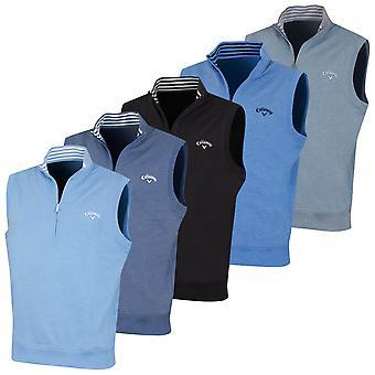 Callaway Mens French Terry 1/4 Zip Fleece Golf Sleeveless Vest