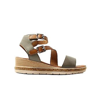 Remonte D3052-54 Forest Green Leather Womens Wedge Sandals