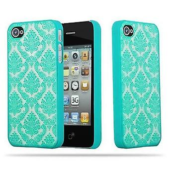 Apple iPhone 4 / iPhone 4S Custodia rigida in GREEN di Cadorabo - Flowers Paisley Henna Design Protective Case – Phone Case Bumper Back Case Cover