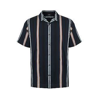 Trostol Navy Striped Resort Short-Sleeved Shirt