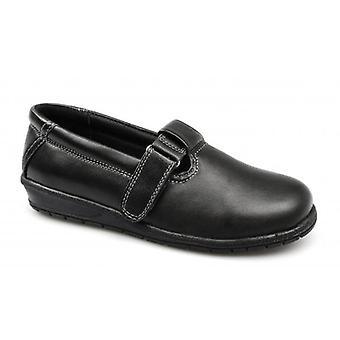 Dr Keller Athena Ladies Leather T-bar Velcro Shoes Black
